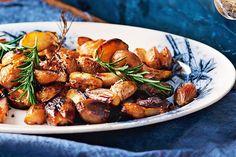 Crispy roast potatoes are tossed in balsamic vinegar for an Italian twist.