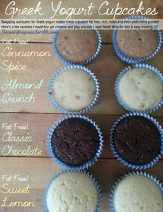Greek yogurt cupcakes! Awesome blog with healthy cup cakes, gives you the calories too