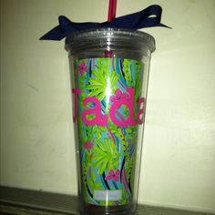 Lilly Pulitzer tumbler...personalized with my Cricut!