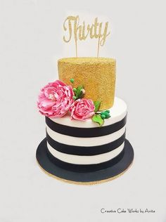 Black & White Stripe Gold Confetti Cake with Pink Flowers 30th Birthday Cake