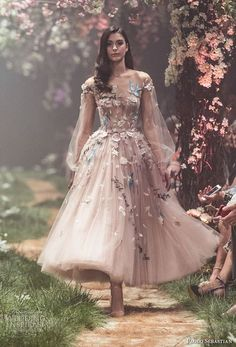 """Paolo Sebastian Spring 2018 Couture Collection — """"Once Upon A Dream"""" Sweeping ball gowns fit for princesses. Ethereal silhouettes hand-embroided with woodland scenes. Pretty dresses that will get you bursting into song. Disney Wedding Dresses, Prom Dresses, Wedding Disney, Disney Weddings, Fairytale Weddings, Themed Weddings, Intimate Weddings, Fancy Dresses For Weddings, Short Dresses"""