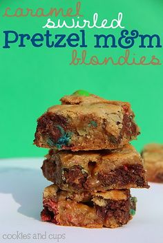 Caramel swirled pretzel m&m; blondies
