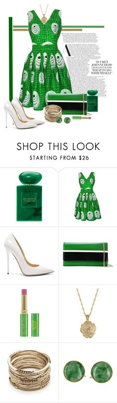 """Depp Green"" by sherrie-mock ❤ liked on Polyvore featuring Giorgio Armani, FAIR+true, Jimmy Choo, Lanvin, Tata Harper, 2028 and Sole Society"