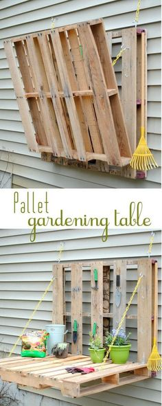 DIY Pallet Gardening Table.  Get the tutorial