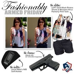 Adrianna E., the leader of The Well Armed Woman chapter of Houma, LA providing an excellent example for summer carry! She conceals her GLOCK 43 (with extended magazine) in her Uncle Mike's IWB soft holster under her Dark-wash denim Riviera shorts from LOFT and her Mossimo hi-lo painterly print tank.
