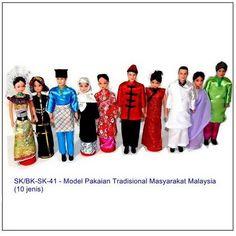 Pakaian Tradisional Gambar Kartun Pelbagai Kaum Di Malaysia Colouring Mermaid Malaysian Dress Printable Coloring Pages Borneo