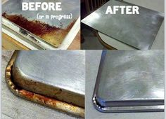 How To Remove Old Grease From Your Cook Ware1/4 baking soda A Squirt of hydrogen peroxide Make a paste and rub on pots, pans, cookie sheets.