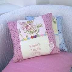Flower Fairy© Tooth Fairy Cushion Pink Personalised Baby, Personalized Gifts, Little Girl Gifts, Little Girls, Pillow Embroidery, Mermaid Room, Tooth Fairy, Sewing Ideas, Unique Gifts