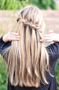 waterfall braid  love these, my mom always used to do them in my hair when I was little, and I can never figure out how to do it now!