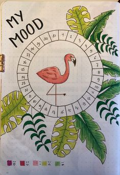 March theme for a bulletjournal with tropical leaves and flamingo. Bullet Journal Leaves, Bullet Journal Paper, Creating A Bullet Journal, Bullet Journal Notebook, Bullet Journal Aesthetic, Bullet Journal School, Bullet Journal Mood Tracker Ideas, Bullet Journal Cover Ideas, Bullet Journal Lettering Ideas