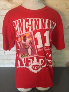 Vintage 1990 s Cincinnati Reds Barry Larkin T-Shirt Retro Throwback by  413productions on Etsy Cincinnati 67e80bfb7