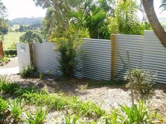 This Zincalume fence is offset and stepped with treated pine posts