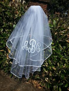 Hey, I found this really awesome Etsy listing at https://www.etsy.com/listing/186875608/monogrammed-wedding-veil-2-tier-satin
