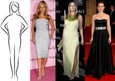 Choose dresses with deep V-necks. Shoulders should not flare or puff. Sleeveless or long form-fitting sleeves look best while spaghetti and narrow straps will have a tendency to make your shoulder look broader. Stay away from wide necklines altogether. Dresses with empire waists with A-line skirts that float away from your body will create the most figure flattering effect, however full skirts that fall from the natural waist line also work well.