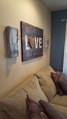 DIY Wooden LOVE Wall Art with coordinating sconces