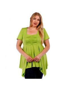 Plus Size Tunic Style Apple Green Top with Back Tie