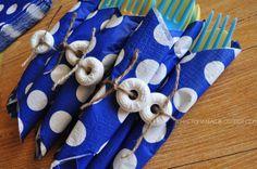 Craft-O-Maniac: Nautical Party Decor- life saver wrapped silverware