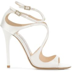 Jimmy Choo Lang sandals ($720) ❤ liked on Polyvore featuring shoes, sandals, white, strappy high heel sandals, white leather shoes, strappy leather sandals, strappy sandals and white sandals