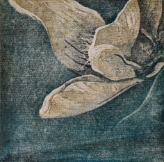 """small 4"""" x 4"""" woodblock white violet reduction print"""