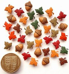 Tiny Acorns and Leaves - Novelty Craft Buttons & Embellishments by Dress It Up by Jesse James, http://www.amazon.co.uk/dp/B00FV1MXNK/ref=cm_sw_r_pi_dp_7M8atb1K1PDNR