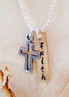 Faith Necklace with Cross Charm by UniquelyImprint on Etsy
