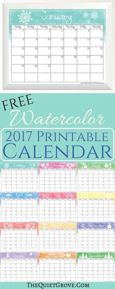 FREE 2017 Printable Calendars which you can print out a month at a time or all at once!