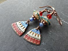 Red, blue and copper earrings. Lamp work glass and copper metal charm earrings.