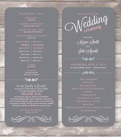 printable wedding program the avery silhouette side only