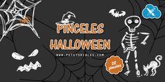 Pack de 28 pinceles, especial Halloween. Si os gustó el pack de pinceles boceto de Halloween espero que también os gusten estos, porque son del mismo estilo, (pinceles tipo dibujo).