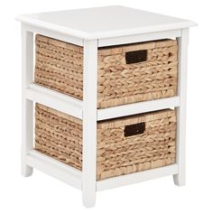 """• Bright white painted finish<br>• Sturdy wood construction<br>• 2, braided sea grass storage bins included<br>• Clean, sleek lines & a compact design<br>• Some assembly required<br>• Dimensions: 21.25"""" H x 16.5"""" W x 15.75"""" D<br><br>Add some much-needed storage space to any room of your home with a Seabrook, 2 Drawer Storage Unit in White. This versatile storage cabinet strikes t..."""