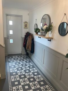 Stair Paneling, White Wall Paneling, Wooden Panelling, Wall Panelling, Tiled Hallway, Hallway Walls, Hallway Designs, Hallway Ideas, Grey And White Hallway