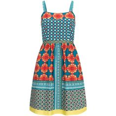 Adrianna Papell Multicoloured print sundress ($190) ❤ liked on Polyvore featuring dresses, women, fit & flare dress, blue sundress, fit and flare dress, cotton dress and cotton sun dresses