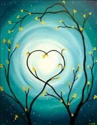 wine and canvas painting ideas Diy Canvas, Canvas Art, Canvas Ideas, Painting Canvas, Heart Painting, Wine And Canvas, Paint Party, Easy Paintings, Art Plastique