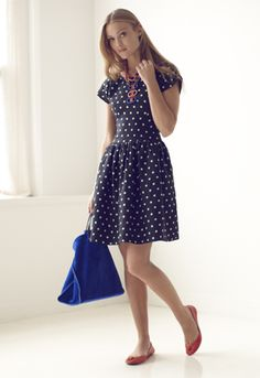 navy polka dot dress + red shoes