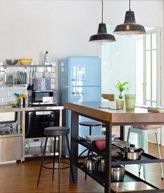 Reforma De Vivienda En Madrid. Vista De Cocina Estilo Industrial. Diseño De  Mobiliario A