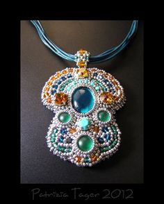 Indian Summer OOAK Necklace  Petrol Blue Teal Turquoise by triz, $165.00