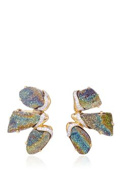 Petra One of a Kind Rainbow Pyrite Earrings by Kara Ross for Preorder on Moda Operandi