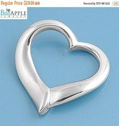 Trend Cute 24mm Open Heart Plain Pendant Charm Pendant For Necklace Solid 925 Sterling Silver Heart Valentine's Day Jewelry Womens Gift