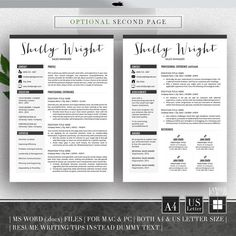 Resume Template & Cover Letter Template Professional by LANDEDpro Cv Design, Resume Design, Cover Letter Template, Cv Template, Mac Pc, Modern Resume, Letter I, Creative Resume Templates, Writing Tips