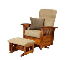 Amish Paradise Mission Swivel Glider Build the best seat in the house. The Paradise Mission Swivel Glider is plush, comfy and custom made. #glider #livingroom