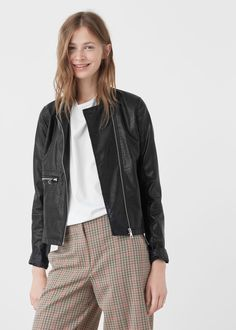 Zipped biker jacket - Jackets for Woman | MANGO Czech Republic