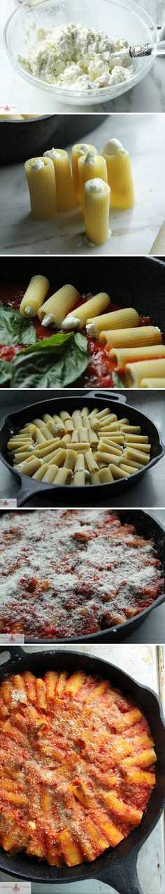 Skillet Baked Stuffed Rigatoni, looks delish! Rigatoni Recipes, Pasta Recipes, Dinner Recipes, Cooking Recipes, Healthy Recipes, Do It Yourself Food, Stuffed Rigatoni, Linguine, I Love Food