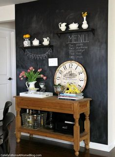 chalkboard wall - This would work great in a kids room too and save $ on Magic Eraser purchases for Momma! Ha!