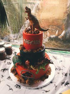 Marcus's Jurassic Park cake. Dinosaur Birthday Cakes, Jurassic Park, Birthdays, Desserts, Ideas, Food, Anniversaries, Tailgate Desserts, Deserts