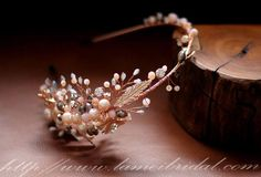 Rose Gold Hair BandWedding Headpiece Pearl Draped Bridal by LAmei