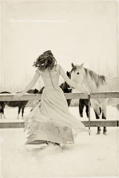I wanna twirl in that pretty dress...with those horses...in the snow...