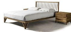 Wooden double bed with upholstered headboard P-120 | Bed - Dale Italia