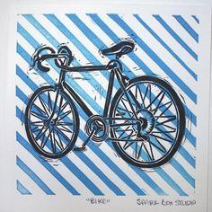 Image result for bike lino print