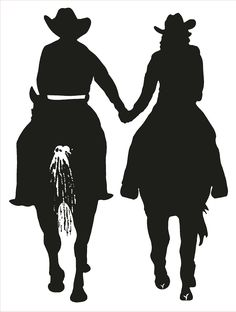 Cowgril Cowboy riding horses and holding hands. It's love!