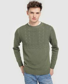 8b144b23f Camisola de malha de homem Green Coast verde com decote redondo